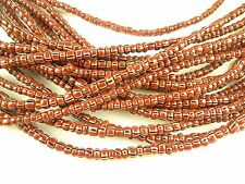 "26"" strand lovely maroon striped Czech glass seed trade beads African tribal"