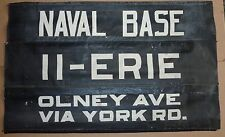 1940's Philadelphia Traction Co PTC Southern Depot Trolleybus Rollsign Naval Bas