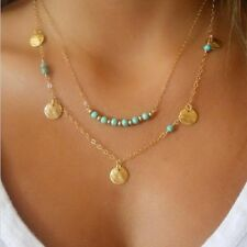 Gold Color Multilayer Blue Beads Link Chain Long Strip Charm Pendant Necklace
