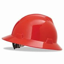 MSA Red V-Gard Standard Slotted Full Brim Hard Hat Fas Trac Suspension 475371
