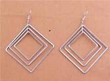 New Tibetan Silver Plated Metal 3 Layes Square Dangle Earrings Women's Ear Hook