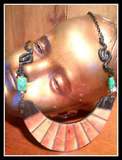 Revamped Serpant, Horn & inlayed Red Coral Artisan Necklace Set