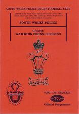SOUTH WALES POLICE v NEWPORT 24 Nov 1990 RUGBY PROGRAMME at BRIDGEND