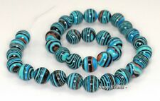 12MM MATRIX TURQUOISE GEMSTONE BLUE STRIPE ROUND 12MM LOOSE BEADS 7""
