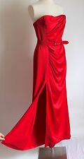 Christian Dior Red Draped Sumptuous Strapless Evening Gown Thigh Split Uk 12/14