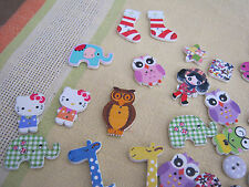 Wooden Decorated Buttons - Assorted / Mixed Packet, Characters, Animals, Shapes