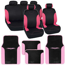 Two Tone Black & Pink Accent Stripes Car Seat Covers - Cute Interior Set 13pcs