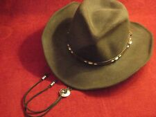 Double S 100% wool leisure Felt Raider Brown Cowboy Hat Leather Band Sz Small