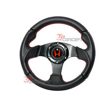 280mm JDM Steering Wheel Black PVC Leather Carbon Fiber Look & Red Stitching