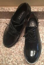 WOMENS DKNY MABEL PLAIN BLACK LEATHER LACE UP OXFORDS SZ 8.5M NEW NWOB $250