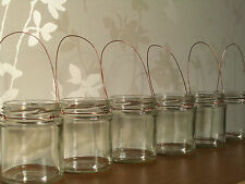 Copper wire Hanging glass jar candle lanterns rustic wedding shabby chic autumn