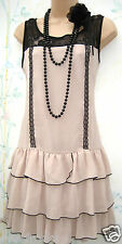 SIZE 14 VINTAGE 20'S CHARLESTON FLAPPER DECO GATSBY STYLE DRESS # US 10  EU 42