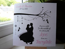 Modern Fairytale Handmade Personalised Wedding Engagement Congratulations Card
