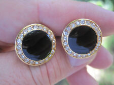 New Gold-Tone Round Rhinestone and Black Onyx Cufflinks with Lots of Bling!
