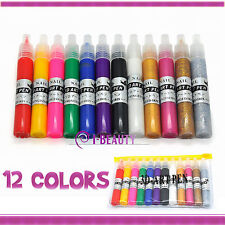 12 Colors UV Gel Acrylic Nail Art Polish Glitter 3D Paint Drawing Pen Set