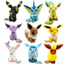 Set of 9 Pokemon Evolution of Sit Eevee Sylveon Umbreon Leafe Plush doll Toy New