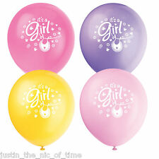"Baby Shower Girls Rosa Festa dei vestiti stesi Range 12"" Palloncini in Lattice x8"