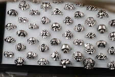 10pcs Wholesale Fashion Skull Head Tibet Silver Ring Lots Jewlery Size 18-22mm