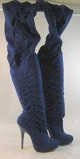 """Shiekh BLUE 5""""high heel round toe sexy over the knee boot Size 5.5 free shipping"""