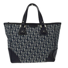 Auth Christian Dior Trotter Hand Tote Bag Canvas Leather Navy Blue Italy 05Z235