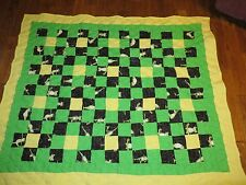 Frog Yoga Quilt Throw Handcraft NEW Lime Green and Yellow  Polka Dot Pink lining