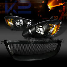 2003-2008 Toyota Corolla Crystal Black Headlights+Black Front Mesh Hood Grille