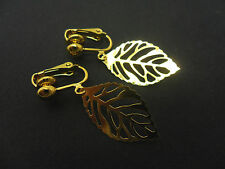 A PAIR OF CUTE LITTLE  GOLD COLOUR  LEAF DANGLY CLIP ON   EARRINGS. NEW.