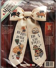 "Cross Stitch Kit The Cat Rules Front Door Bow Dimensions 72294  17"" NEW"