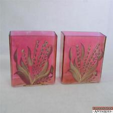 Pair of Iridescent Cranberry Glass Rectangular Yellow Lily Of The Valley Vases