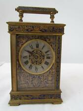 ANTIQUE FRENCH LARGE CARRIAGE CLOCK with BLUE ENAMEL CASE