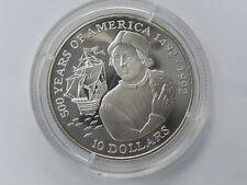 10 Dollars 1990 Cook-Islands Silber PP 500 Years of Amerca