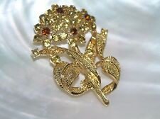 Estate Goldtone Leaves with Brown & Yellow Rhinestone Flower Pin Brooch – 2 and