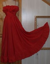 Vintage RED Ruffled Bodice FULL Taffeta Dress VALENTINES DAY WEDDING prom XS S