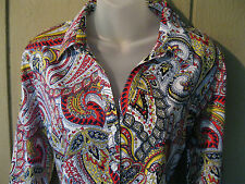 NWOT~Dana Buchman~XL Extra Large~Classic~Fitted~Paisley~ Shirt Top Blouse~Sharp!