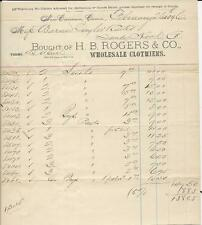 1896 H.B. ROGERS & CO. WHOLESALE CLOTHIERS BILL HEAD, NEW CANAAN. CONN