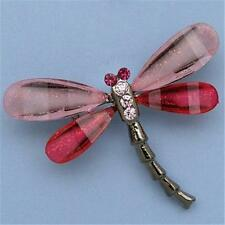Dragonfly Insect Fashion Brooch Pin Pink Stone Crystal Antique Silver Tone DK63