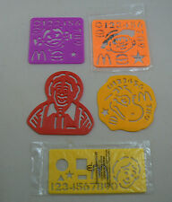 Bulk Lot 5x vintage McDonalds Drawing Stencil Happy Meal Toy 1992 1993 1994 1995