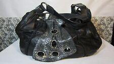 CHI by Carlos Falchi BLACK Leather  HAND Bag  PURSE SHOULDER BAG w/Crystals