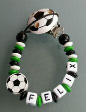 Schnullerkette +Namen Fußball grün weiß Wolfsburg Fürth Gladbach Bremen Hannover