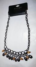 Lane Bryant Gold and Black Stone Hemitite Necklace One SZ 18""