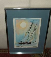 """""""Schooner off Key West"""", Lithograph Print by RE Kennedy"""
