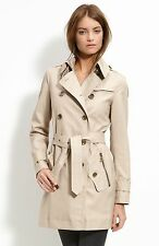 New Authentic Burberry Brit 'Brooksby' Double Breasted Trench Coat Stone Size 8