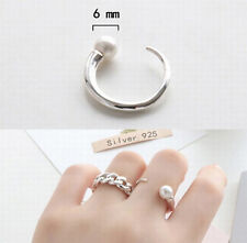925 Sterling Silver - Size 6 Elegant Simple Pearl Lady Party Open Smooth Ring