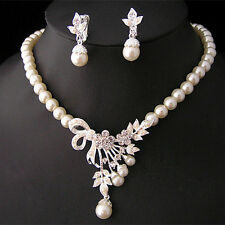 Crystal Pearl Silver Plated Necklace&Earrings Wedding Party Bridal Jewelry Set