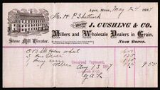 Ayer MA 1887 Millers and Wholesale Dealers in Grain J Cushing & Co Billhead Rare