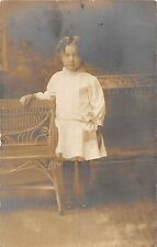 B41/ Canton Ohio Postcard Real Photo RPPC People Girl Bench c1910 12