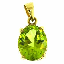 2.50 CT FINE PERIDOT PENDANT 14K YELLOW GOLD ESTATE NATURAL GREEN OVAL CUT