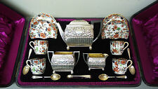 RARE 19th C. ENGLISH STERLING SILVER & SPODE PORCELAIN CASED TRAVEL TEA SERVICE