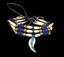Three Row Bone Hairpipe Choker with Dark Blue Beads and Feather _ Sioux Handmade