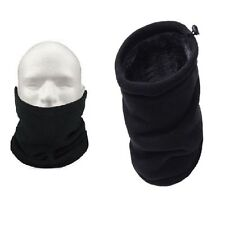 2 x  Black Neckwarmer Thermal Polar Fleece Snood Scarf Hat Ski Wear Mens  Ladies